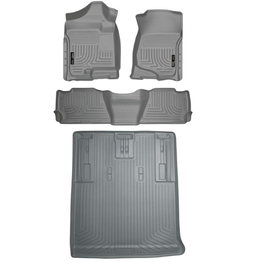 Husky Silver Front & 2nd Row & Cargo Mats For 07-14