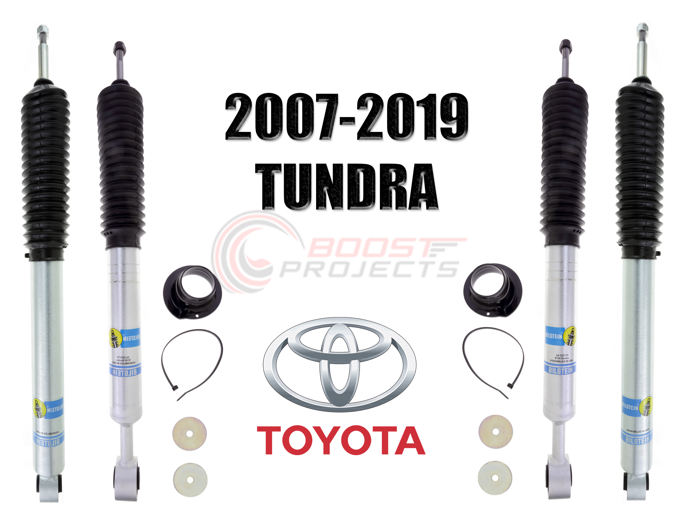 Bilstein B8 5100 Series 2 Rear Shocks Kit for 13 Toyota Tundra 0-1 inch lift Ride Monotube replacement Gas Charged Shock absorbers part number 24-186971