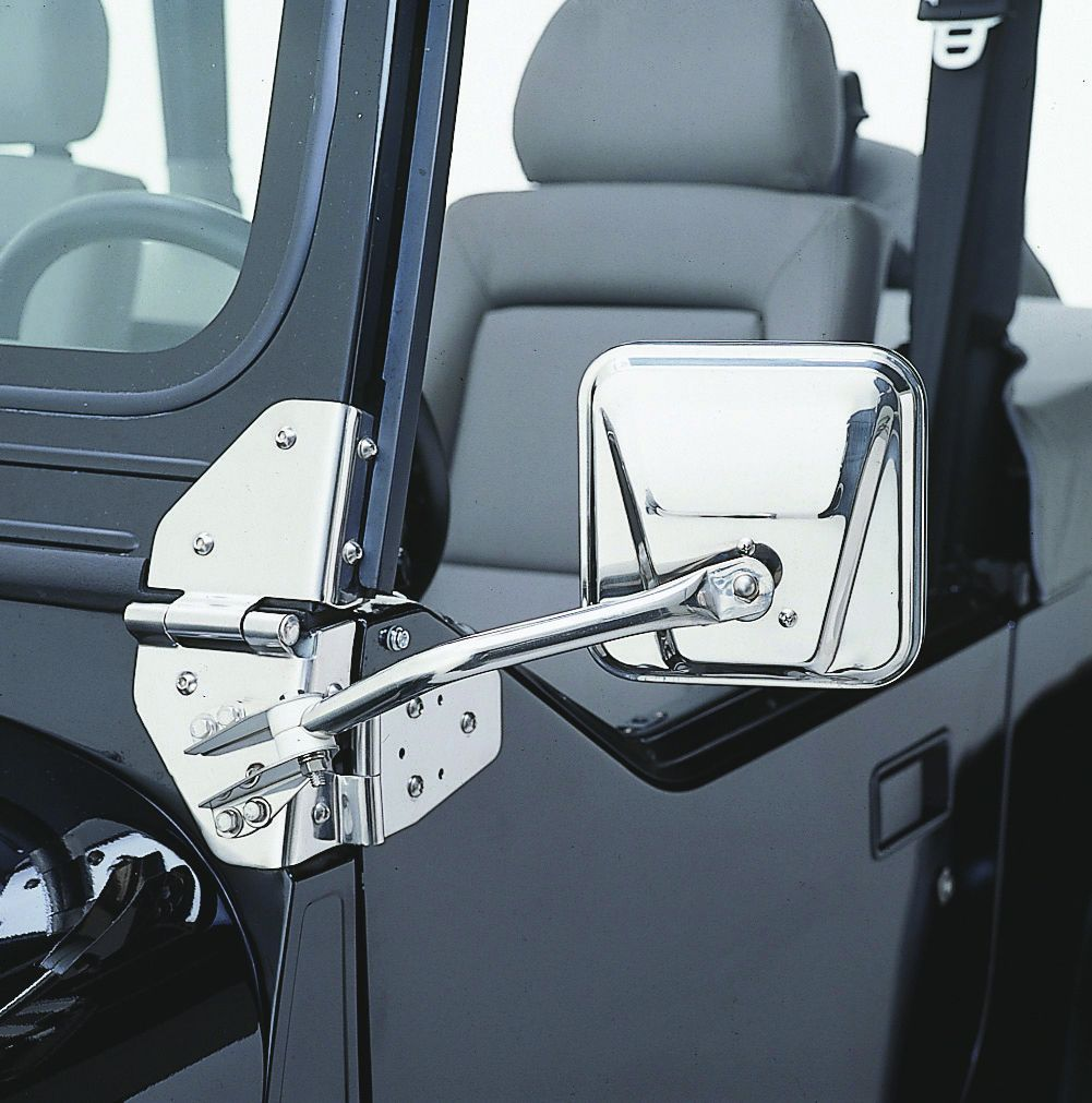 RAMPAGE PRODUCTS 7617 Black Factory Style Replacement Steel Mirror Kit for 1955-1986 Jeep CJ Pair